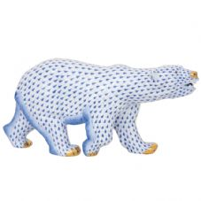 Herend Porcelain Fishnet Figurine of a Polar Bear